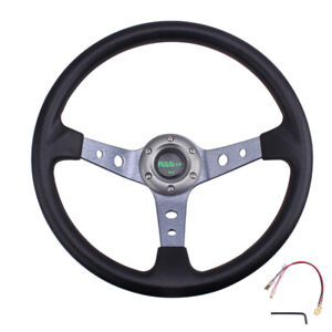 Black Steering Wheel 350mm 14inch Deep Dish 6 Bolt With Horn Button Racing