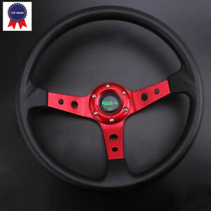 Us Racing Steering Wheel 350mm 14inch Deep Dish 6 Bolt With Horn Button