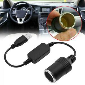 Male To 12v Usb Car Cigarette Lighter Female Socket Converter Adapter Cable Cord