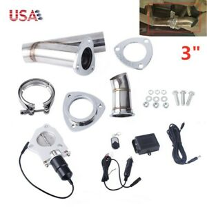 Stainless Steel 3 76mm Exhaust Cutout Y Pipe Exhaust Header Valve System Kit Us