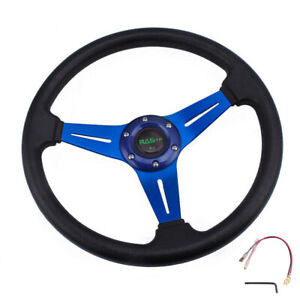 6 Bolt Steering Wheel Sport Racing 340mm Deep Dish With Horn Button Us