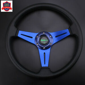 Blue Steering Wheel Sport Racing 340mm Deep Dish With Horn Button 6 Hole