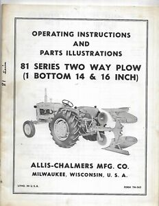 Allis chalmers 81 Series Two Way Plow Operating Instructions Manual