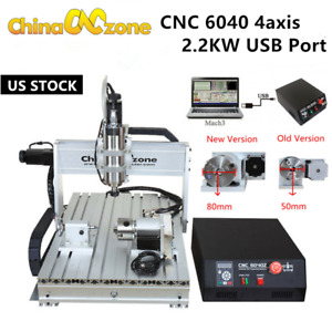Cnc 6040 4axis Engraver Router Mach3 Usb Cutting Milling Engraving Machine Us