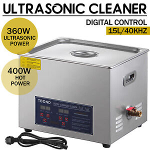 Commercial 15l Ultrasonic Cleaner Industry Heated Heater W timer Jewelry Glasses