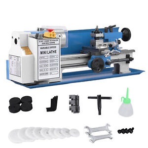 Cj18a Mini Lathe 7 x14 Turning Metal Accessory Package Digital Blue Milling