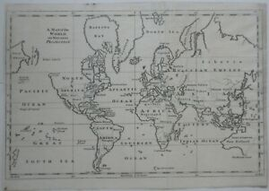 Original 1755 Gentleman S Magazine Map Of The World On Mercator S Projection