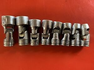 Snap on 8 Piece 3 8 dr Sae Shallow 6pt Swivel Socket Set 5 16 To 3 4