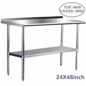 Stainless Steel Table For Prep Work 24 X 48 Inches Nsf Commercial Heavy Duty