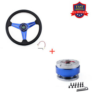 Racing Car Aluminum Steering Wheel 6 Bolt Quick Release Hub Adapter Blue
