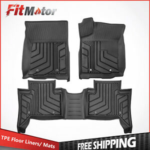 Front rear Tpe Injection Mould Floor Mats Liners For 16 21 Toyota Tacoma Trd Pro