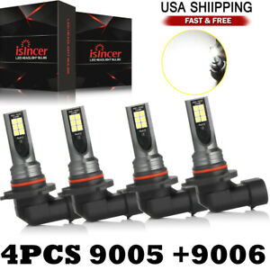 4x 9005 9006 Combo Led Headlight Kit Hi lo Beam Bulbs 6000k For Chevy Silverado