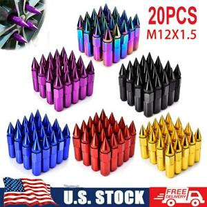20pcs Cap Spiked Aluminum Extended Tuner M12 X 1 5mm 60mm Wheel Lug Nuts Rims Us