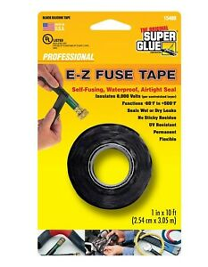 E z Fuse Silicone Tape 1 In X 10 Ft Black Water And Uv resistant Wet Or Dry