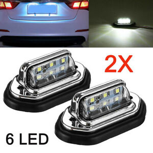 2pcs 6 Led Car License Plate Light White Signal Tail Lamp For Boat Truck Trailer