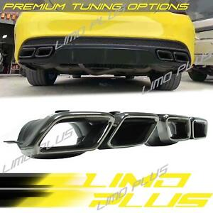 Black Exhaust Pipe Muffler Tips For Mercedes Benz C Class W205 C63 Amg 15 18
