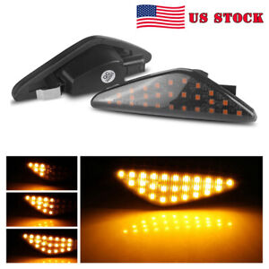 2x Smoked Led Dynamic Side Marker Turn Signal Light For Bmw X3 X5 F25 E70 E71 X6