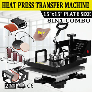 8in1 Combo Heat Press Machine 15 x15 Sublimation Transfer T shirt Mug Plate Hat