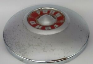 Vintage 1955 1956 55 56 Ford Fairlane Red Dog Dish Hub Caps Embossed Lot Of 2