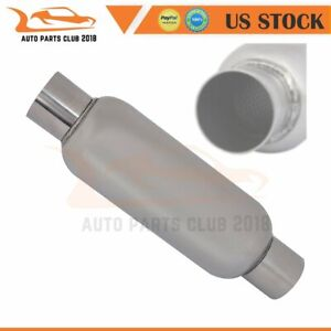 2 25 Inlet Outlet 14 Inch Long Racing Exhaust Resonator Muffler Ss Turbine