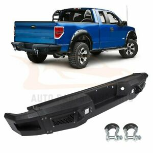 For 2009 2014 Ford F 150 Step Rear Bumper Guard Face Bar Led Lights