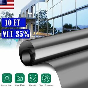 35 Vlt Window Tint One Way Mirror Film Uv Heat Reflective Home Office Car Glass