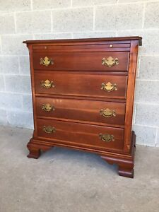 Duckloe Brothers Solid Cherry Chippendale Style 4 Drawer Bachelor Chest
