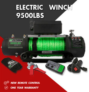 Stegodon Electric Winch 9500lbs 12v Synthetic Rope Towing Truck Trailer Jeep 4wd