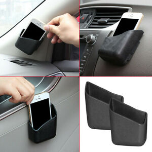 2pcs Car Accessories Cell Phone Organizer Storage Bag Box Holder Universal Black