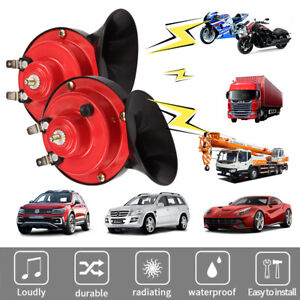 1 Pair 300db 12v Electric Super Loud Train Snail Horn For Truck Boat Motorcycle