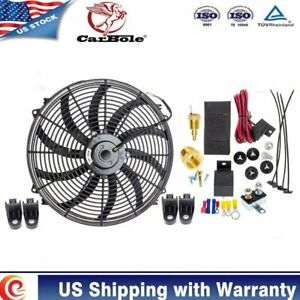 12 Inch Electric Radiator Cooling Fan Mounting Kit Thermostat Relay Switch Kit