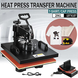 Led 15 x15 2 In 1 Heat Press Machine Swing Away Digital Sublimation T shirt Hat