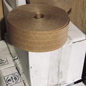 6 Rolls Reinforced Kraft Paper Gummed Tape Water Activated Brown Packing 2 5x600