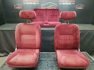 1991 Dodge Shadow Convertible Set Of Front Rear Maroon Cloth Seats
