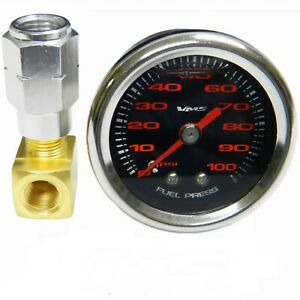 Black And Red 1 1 2 100psi Fuel Pressure Gauge For Gm Chevy Ls1 Ls2 Ls6 Lt1 L98