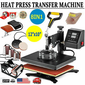 8 In 1 Digital T shirt Heat Press Machine Combo Sublimation Transfer Home Diy
