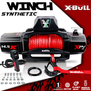 X bull Xpv 14500lbs 12v Electric Winch Red Synthetic Rope Jeep Towing Truck