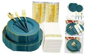 175pcs Gold Plastic Plates disposable Silverware With Deep Teal Handle Green
