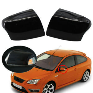 2x Glossy Black Car Rearview Mirror Side Cover For Ford Focus 2005 2008
