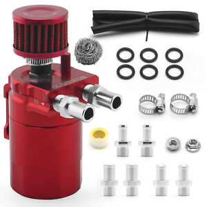 Red 300ml Oil Catch Can Kit Universal Breather Baffled Aluminum Reservoir Tank