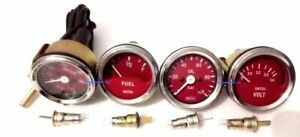 Smiths 52mm kit mechanical Water Temp oil fuel Volt Red Face Chrome Me