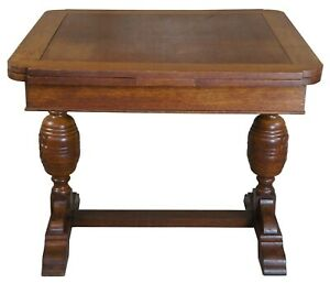 Elizabethan Style English Oak Draw Leaf Refectory Dining Table Library Desk 60