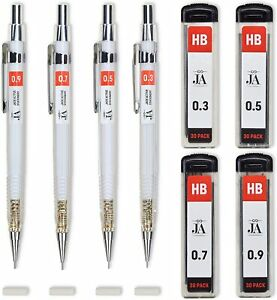 Drafting Pencil Set Each Mechanical With Erasers Pencils 0 3 0 5 0 7 0 9 Mm