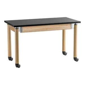Nps Signature Series 54 Wood Science Lab Table With Phenolic Top In Light Oak