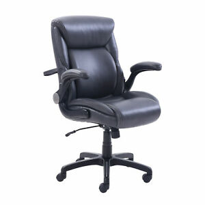 Serta Air Lumbar Bonded Leather Manager Office Chair Gray