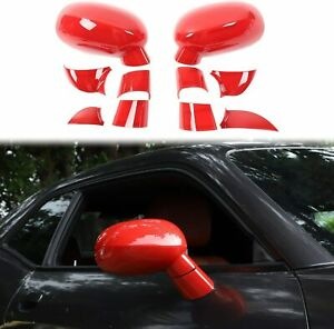 Rearview Mirror Covers Abs Side Mirrors Cover For 2009 Dodge Challenger Red T