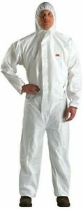 3m 4510 Hooded Protective Coverall White Chemical Hazmat Suit 3xl Painters