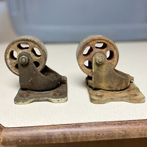 Set Of 2 Vintage Bassick 3 Industrial Casters Swivel Steampunk