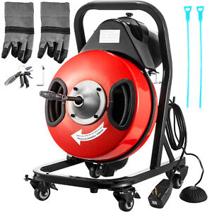 50 X 3 8 Drain Cleaner Machine W foot Switch Plumbing Sewer Snake 4 Casters