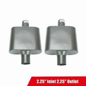Pair Of Single Chamber Mufflers 2 25 Inlet 2 25 Outlet Center Performance Race